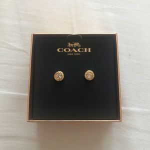 BNIB Coach Gold Open Stone Strand Earrings
